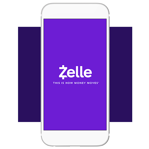 "White Zelle logo with ""This is how money moves"" on purple smart phone and purple background."