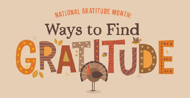 National Gratitude Month: Ways to Find Gratitude - image of turkey under GRATITUDE letters