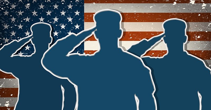 Adopt-A-Soldier Banner with silhouettes of 3 soldiers saluting to American flag background